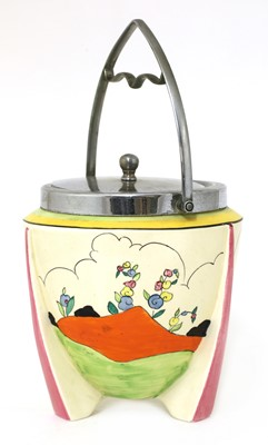 Lot 98 - A Clarice Cliff 'Applique Idyll' biscuit barrel and cover