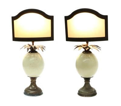 Lot 418 - OSTRICH EGG LAMPS