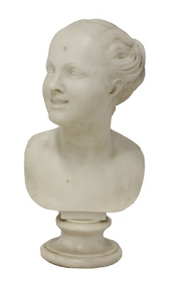 Lot 2 - A white marble bust of a smiling young girl
