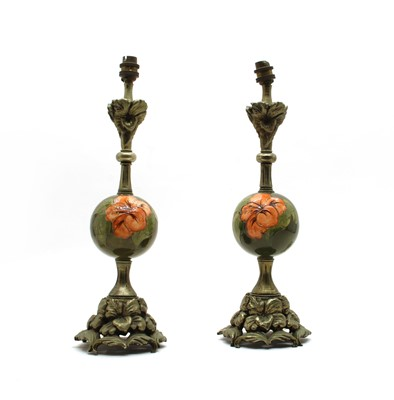 Lot 66 - A pair of Moorcroft 'Hibiscus' ball table lamps
