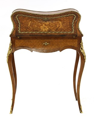 Lot 45 - A French Louis XV-style rosewood and satinwood bureau de dame