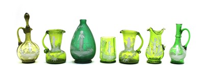 Lot 58 - Ten pieces of green Mary Gregory glass