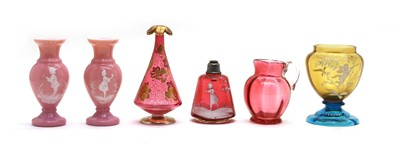 Lot 61 - A ruby 'Mary Gregory' glass atomiser base