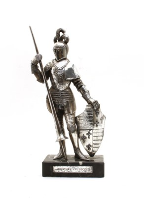 Lot 26 - An Italian silver coloured knight on marble base