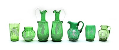 Lot 47 - Six pieces of green 'Mary Gregory' glass ware