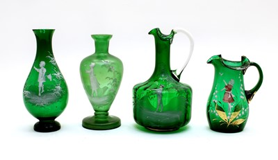 Lot 76 - Four pieces of green 'Mary Gregory' glassware