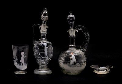 Lot 65 - Four pieces of clear 'Mary Gregory' glass