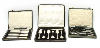 Lot 13 - Six various cased silver cutlery sets