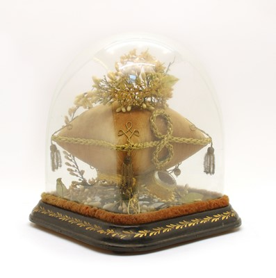 Lot 37 - A Victorian square glass dome on a gilt work and ebonised base