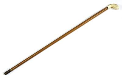 Lot 76 - An ivory-handled walking stick