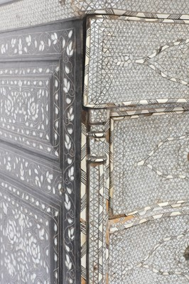 Lot A Syrian ebonised, mother-of-pearl and bone inlaid tall chest of drawers