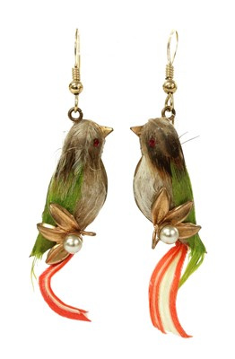 Lot 37 - A pair of gilt metal bird drop earrings