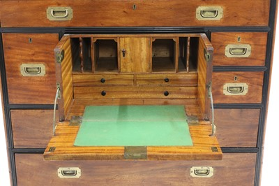 Lot A Victorian camphor and ebony campaign secretaire chest