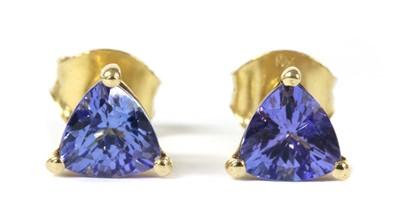Lot 177 - A pair of gold single stone tanzanite stud earrings