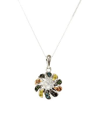 Lot 59 - A white gold diamond and fancy coloured diamond pendant