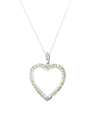 Lot 83 - A white gold diamond heart pendant