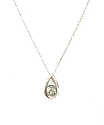 Lot 91 - An 18ct white gold single stone diamond pendant