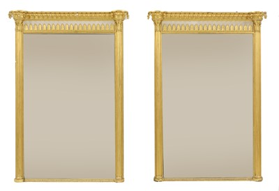 Lot A pair of Regency-style giltwood pier mirrors