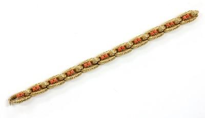 Lot 188 - A gold coral set bracelet and ring suite, by Cartier Paris