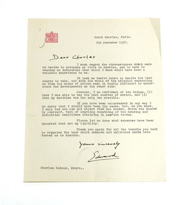Lot 103 - EDWARD VIII: Letter to Charles Bedaux, Hotel Meurice