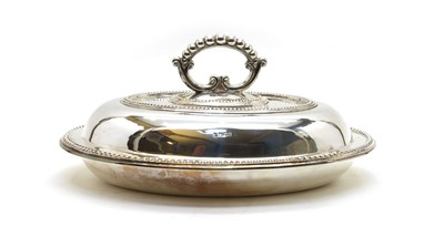 Lot 3 - An oval silver entree dish and cover