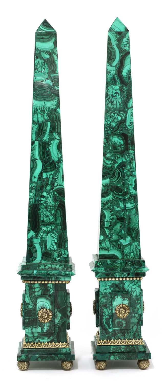 Lot A pair of malachite obelisks