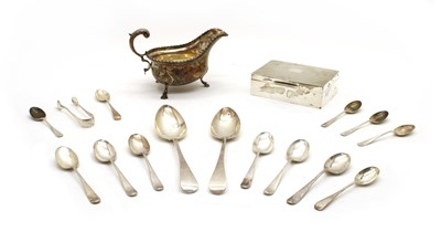 Lot 8 - Silver items, comprising: a sauceboat