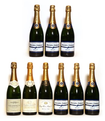 Lot 23 - Assorted non-vintage Champagne: Duval-Leroy, Vertus, NV, six bottles and three various others