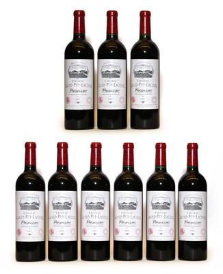 Lot 91 - Chateau Grand Puy Lacoste, 5eme Cru Classe, Pauillac, 2001, nine bottles