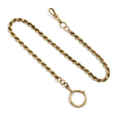 Lot 13 - A gold rope link Albert chain