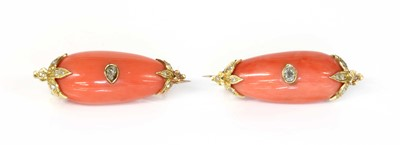 Lot 108 - A pair of cased Victorian coral and diamond brooches