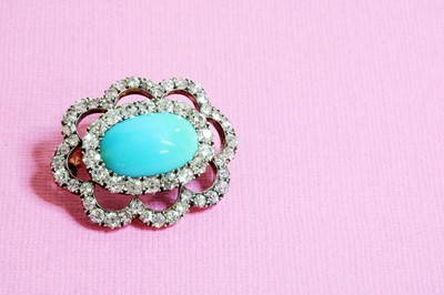 Lot 53 - A late Victorian turquoise and diamond brooch/pendant, c.1890