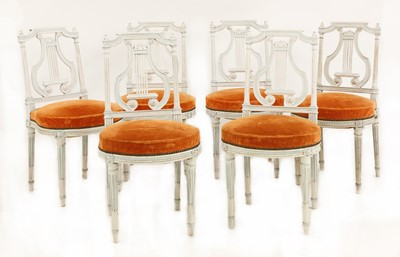 Lot 52 - A set of six French Louis XVI-style painted chairs