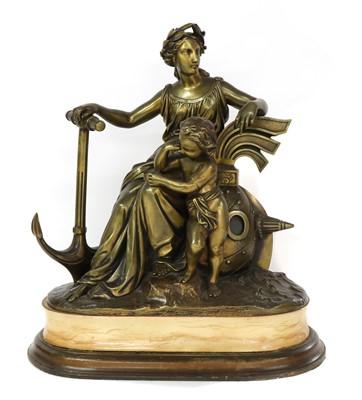 Lot 186 - A nautical bronze group