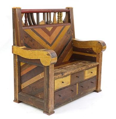 Lot 369 - *A reclaimed wood settle