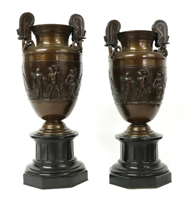 Lot 461 - A pair of neoclassical bronze urns
