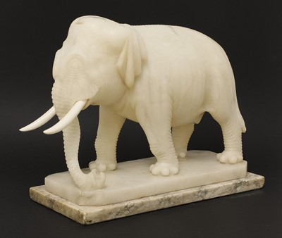 Lot 79 - An Indian carved alabaster figure of an elephant