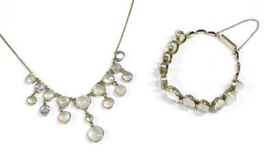 Lot 34 - A silver moonstone fringe necklace