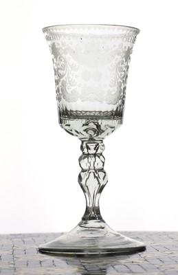 Lot 150 - A Dutch engraved friendship goblet