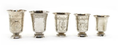 Lot 3 - Five French white metal goblets
