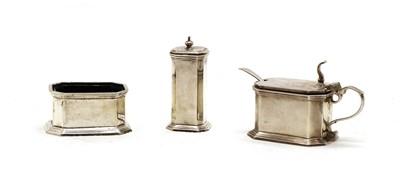 Lot 43 - A three piece silver cruet set