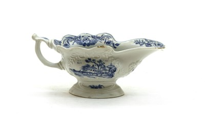 Lot 89 - An 18thc century Bow blue and white sauceboat