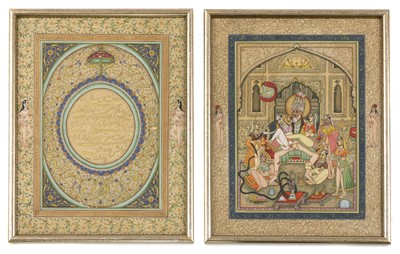 Lot 447 - TWO MUGHAL EROTIC GOUACHES