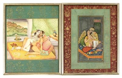 Lot 129 - Fourteen Indian erotic paintings