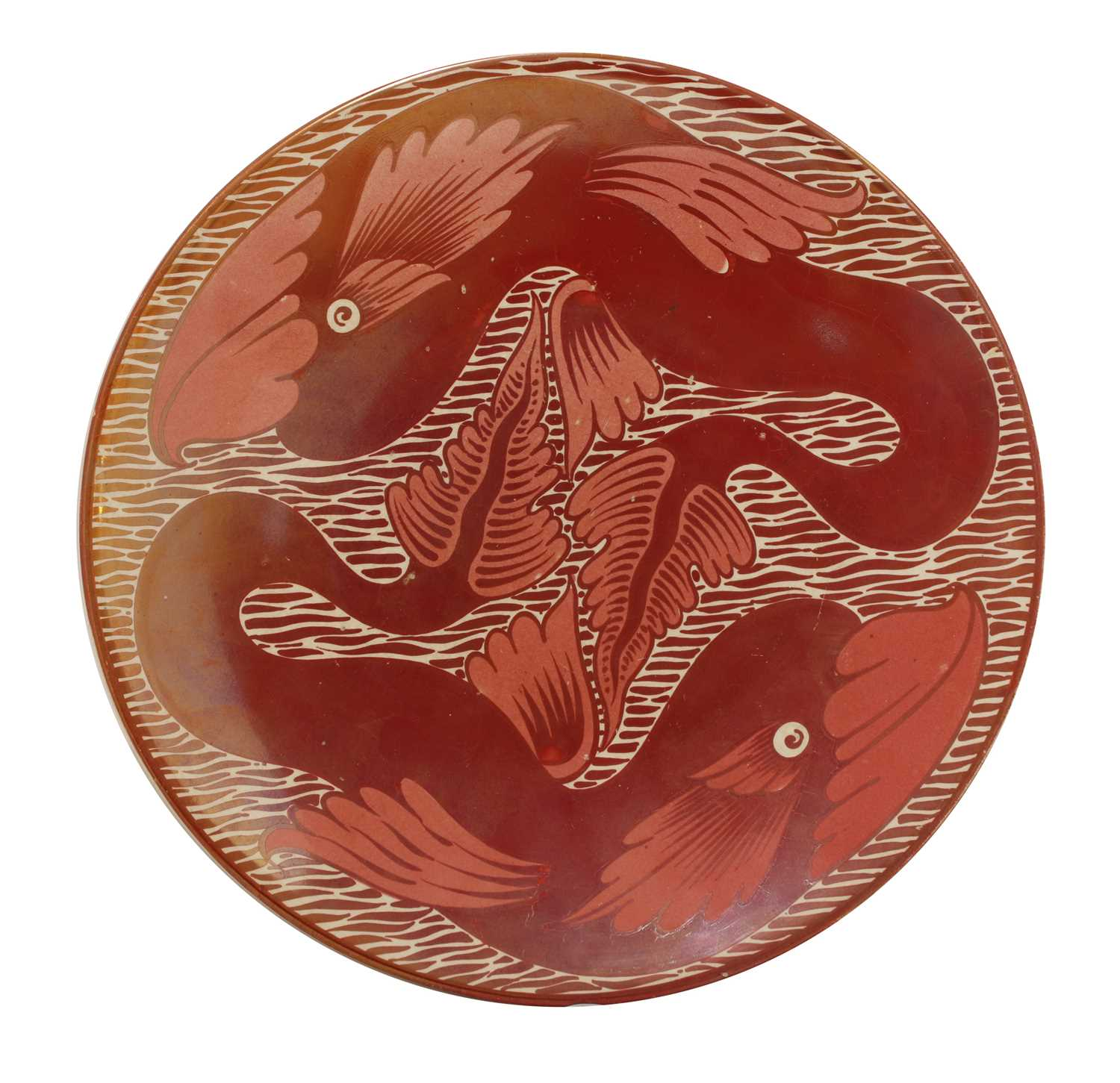 Lot 44 - A ruby lustre plate