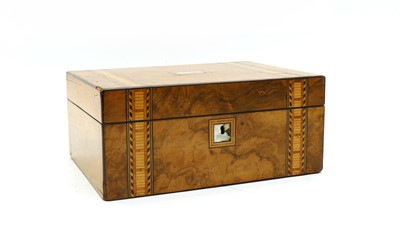 Lot 79 - A Victorian mother of pearl inlaid walnut work box