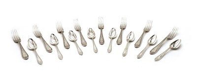 Lot 49 - A silver canteen of cutlery for eight settings