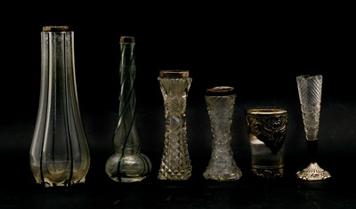 Lot 45 - A collection of silver topped specimen vases and other similar