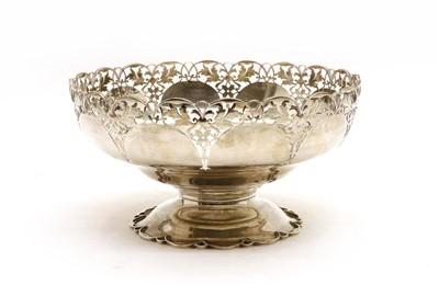 Lot 34 - A silver pierced bowl on spreading pedestal foot