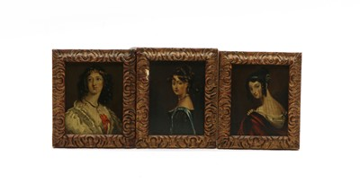 Lot 100 - A collection of three miniature oils on panel